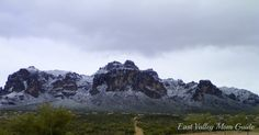 Superstition Mountains (just outside Phoenix, Arizona) covered in snow.