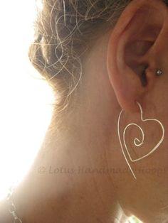 Sterling Silver Tribal Heart Hoop Earrings  by LotusHandmadeHoops