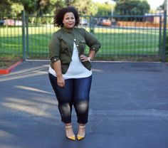 GarnerStyle | The Curvy Girl Guide  Military style jacket chic.