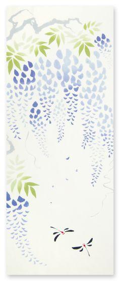 [材 質] 綿100% 〔特岡〕[サイズ] 約 36×90 cm    藤の花言葉は決して離れない。  漂う花の香りに酔いしれて  優雅に寄り添う2匹のトンボを  深い絆で結びます。