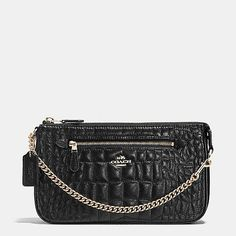 Nolita Wristlet 24 in Quilted Croc Leather