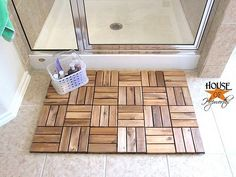 Upcycling a Runnin floor decking into a spa bath mat is a creative IKEA hack. Did you know there are some pieces of IKEA furniture that you can hack and use beyond their intended purpose? Your favorite IKEA pieces can be put to use in unexpected ways. Bathroom Hacks, Bathroom Spa, Bathroom Rugs, Small Bathroom, Bathroom Caulk, Concrete Bathroom, White Bathrooms, Bathroom Closet, Luxury Bathrooms
