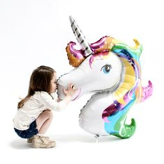 This large rainbow unicorn balloon will be loved and adored by little 'believers'. Rainbow Party, unicorn party or pretty much any magical dreamy childs party t
