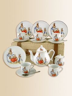 Every little girl needs this tea set. I still remember it from when I was little. :)>> I want a Beatrix Potter Tea Set!