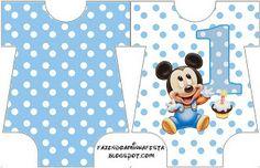 LARGE PRINTABLE SET- Mickey Baby Azul Poá – Kit Completo com molduras para convites, rótulos para guloseimas, lembrancinhas e imagens!   Fazendo a Nossa Festa
