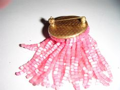 "Vintage goldtone round brooch with masses of pink dangling beads 1.25""Wide Listing in the 1950s-1970s,Antique & Vintage,Jewellery & Watches Category on eBid United Kingdom"