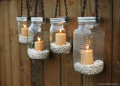 Mason Jar Lanterns Hanging Tea Light Luminaries - Set of 4 - Black Chain