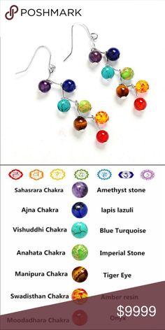 Chakra drop silver earrings Coming soon! These Chakra drop earrings are eye catchers! Pair these with our Chakra lava bead bracelet. Jewelry Earrings