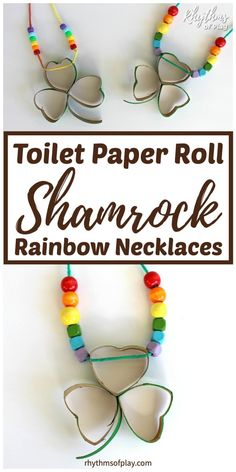 Shamrock and Lucky Four Leaf Clover Necklace Crafts Cheap Diy Headboard, Diy Headboards, Light Fixture Makeover, Four Leaf Clover Necklace, Diy Blanket Ladder, How To Make Labels, Martha Stewart Crafts, Toilet Paper Roll, Valentines Diy