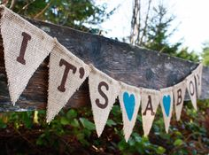 Baby Shower Banner Sign It's A Boy Burlap by SewBarefoot on Etsy, $18.95
