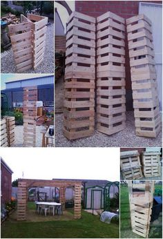 Here we have the artistic designed piece of the garden gazebo that is much stylish looking for the house garden areas where the involvement of the wood pallet is best carried out. You will view the whole gazebo artistic and much creative looking for sure. Wood Pallet Wine Rack, Wood Pallet Planters, Wooden Planter Boxes, Diy Planter Box, Cheap Gazebo, Diy Gazebo, Garden Gazebo, Gazebo Ideas, Porch Ideas