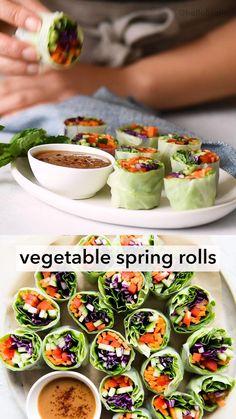Vegetarian Spring Rolls, Vegetable Spring Rolls, Vegetable Snacks, Vegetable Recipes, Vegetarian Recipes, Cooking Recipes, Healthy Spring Recipes, Catering Recipes, Vegan Rice Paper Rolls