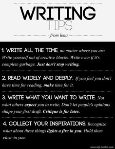 """10 Writing Tips: """"Never Give Up"""""""