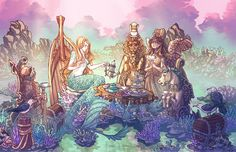 The Last Mermaid's Tea Party, Graphite & Digital Media, 11″ x 17″, 2016. As time passed, her fellow mermaids came to tea less and less, until they stopped coming altogether. It was no matter, though-...