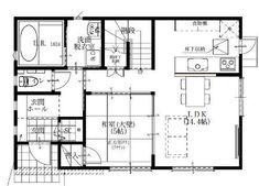 01シンプルモダン4LDKの家-1F平面図