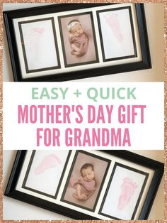 Unsure of what to get grandma for mother's day this year? This cute DIY baby footprint craft will make her day - it's the best mother's day gift for grandmas ever! Diy Mother's Day Gifts For Grandma, Mother's Day For Grandma, Diy Mothers Day Gifts, Easy Diy Gifts, Creative Gifts, Homemade Gifts, Baby Footprint Crafts, Homemade Playdough, Baby Footprints