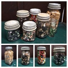 Cool Mason Jar ideas! Fill them with random stuff like scrabble pieces, keys, buttons, typewriter keys, beads, golf tees and everything else. Cool and fun looking.