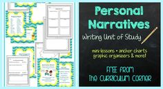 Personal narratives writing unit of study freebie from the curriculum corner 3rd Grade Writing, Kindergarten Writing, Teaching Writing, Writing Activities, Teaching Resources, Teaching Ideas, Literacy, Personal Narrative Writing, Personal Narratives