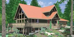 House front color elevation view for 9948 Amazing A-Frame House Plan, Central Oregon House Plan, 5 bedrooms