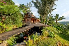 this is  the Villa at Hartland Estate, Ubud is a beautiful kampung villa set in the middle of a gorgeous jungle with amazing vistas of the Sayan Valley