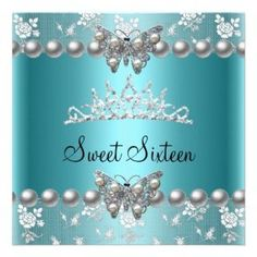 Shop Sweet Sixteen 16 Party Teal Blue Pearl Butterfly Invitation created by Zizzago. Butterfly Invitations, Custom Invitations, Invitation Design, Invite, Butterfly Party, Butterfly Birthday, Sweet 16 Birthday, 16th Birthday, Teal Blue