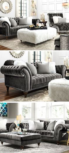 The new Duchess sofa's name is quite befitting, since this lavish piece simply radiates opulence. Velvet-look upholstery provides indulgent comfort, and the subtle gray-on-gray pattern offers plenty of allure. Plus, impress your guests whenever you entertain with exquisite features like dramatically curved roll arms, button tufting and thick nailhead trim.