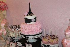 Paris ruffled cake at a Barbie in Paris Party #barbie #partycake