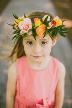 Flower girl totally owning her floral crown   Southern Elegance At This Sunset Inspired North Carolina Graylyn Estate Wedding   Photograph by Carolyn Scott Photography  http://storyboardwedding.com/southern-elegance-north-carolina-graylyn-estate-wedding