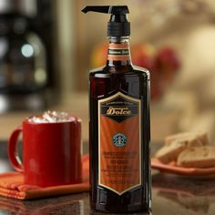 A 1-liter bottle of cinnamon flavored syrup, for a sweet, spicy kick to the coffee or latte you make at home.