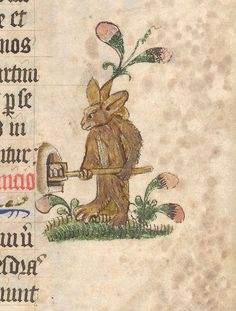 The British Library, Lansdowne 451, detail of f.6 (rabbit baker). Pontifical; Tabula. England,  1st quarter of the 15th century