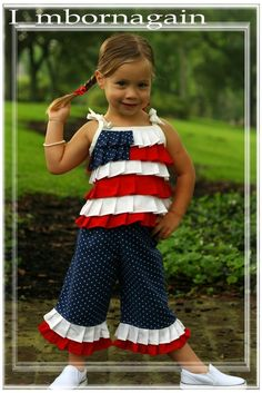 Patriotic Capri Set  4th of July by Imbornagain on Etsy, $59.99 - OH MY GOD, how cute is this outfit (and the girl)? - I need to get this for my 4th of July baby :) :)