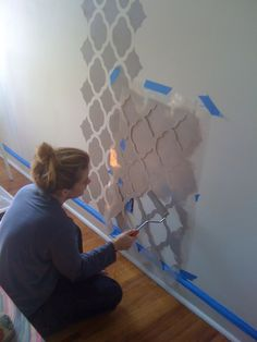 DIY Wallpaper Stencil-accent wall in kitchen