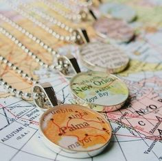 Vintage Map Sterling Silver Round Necklace.  You by dlkdesigns.... SOMEONE GET THIS FOR ME PLEASE