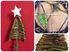 Day 20   I was looking at the weaving we made with bindweed and forked sticks (top right). They dry out beautifully and I realised that the shape of the forked stick could be easily adapted to make Christmas trees.