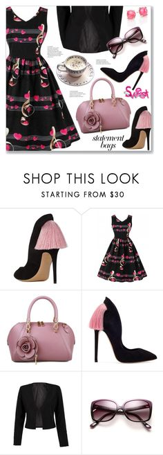 """""""Retro Heart Music Notes Valentines Flare Dress"""" by jecakns ❤ liked on Polyvore featuring Music Notes, WithChic, Ippolita and vintage"""