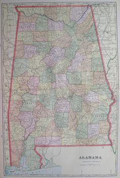 Antique ALABAMA  MAP of Alabama State Map 1908 by plaindealing