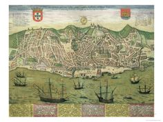 Mapa de Lisboa, de Civitates Orbis Terrarum por Georg Braun Lámina giclée por Joris Hoefnagel en AllPosters.es