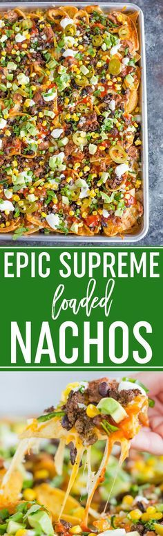 Epic Supreme Loaded Nachos :: The absolute epitome of loaded nachos... a mixture of tortilla and corn chips topped with tons of cheese and all of the best toppings you could imagine! #appetizers #partyfood #footballfood #superbowl #nachos via @browneyedbaker