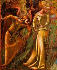 ❄🌷Vitale da Bologna, The Nativity, Fragment of the Mezzaratta Frescos, c. Italian Baroque, Italian Renaissance, Eclectic Style, Bologna, African Art, Fresco, Art History, Nativity, Gothic