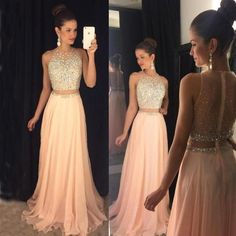 Two Pieces Sleeveless Prom Dress, Beaded Chiffon Prom Dress, A-Line Prom Dress, A Line Prom Dresses, Homecoming Dresses, Bridesmaid Dresses, Formal Dresses, Wedding Dresses, Chiffon Dresses, Long Dresses, Fall Dresses, New Years Eve Dresses