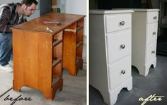 DIY Nightstands from an old desk!  I never would have thought of this!