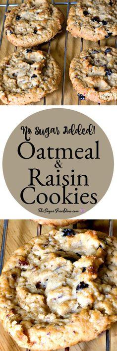 Sugar-Free Oatmeal Raisin Cookies -- These are so yummy! No sugar added oatmeal and raisin cookies via Sugar Free Deserts, Sugar Free Treats, Sugar Free Cookies, Sugar Free Recipes, Sugar Free Oatmeal Cookie Recipe, Healthy Oatmeal Raisin Cookies, Desserts With No Sugar, Sugar Free Pastries, Oatmeal Raisins