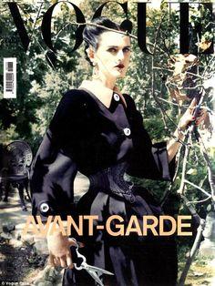 Vogue Italia. Stella Tennant.  13-inch waist.  Strange cover.