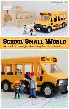 Simple school small world play for preschoolers! A hands-on school bus themed pretend play prompt with Playmobil and blocks! Play based learning for kids! - Education and lifestyle Preschool Learning Activities, Play Based Learning, Learning Through Play, Infant Activities, Toddler Preschool, Kids Learning, Preschool Ideas, Small World Play, School Themes