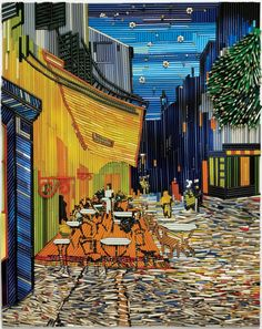 """To promote Faber-Castell's top of the line artist pencils, advertising agency Ogilvy & Mather recreated masterpieces such as Edvard Munch's """"The Scream"""" and Vincent Van Gogh's """"Terrace Cafe at Night"""" using thousands of colored pencils."""