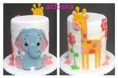 Elephant and giraffe cake - by aldoska @ CakesDecor.com - cake decorating website