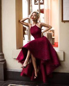 Charming Prom Dress,High Low Prom Dress, Maroon Prom