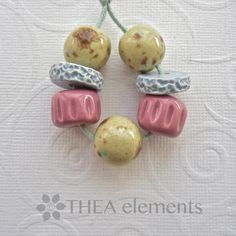 Handmade ceramic bead set earthenware bead set by THEAElements, £7.00
