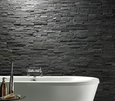 Rough Natural Stone Tile Google Search Black Bathroomsbathroom Wall
