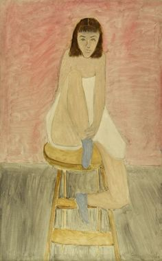 Girl Seated on a Stool  -  Milton Avery